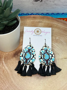 Aztec Leather and Black Tassel Earrings