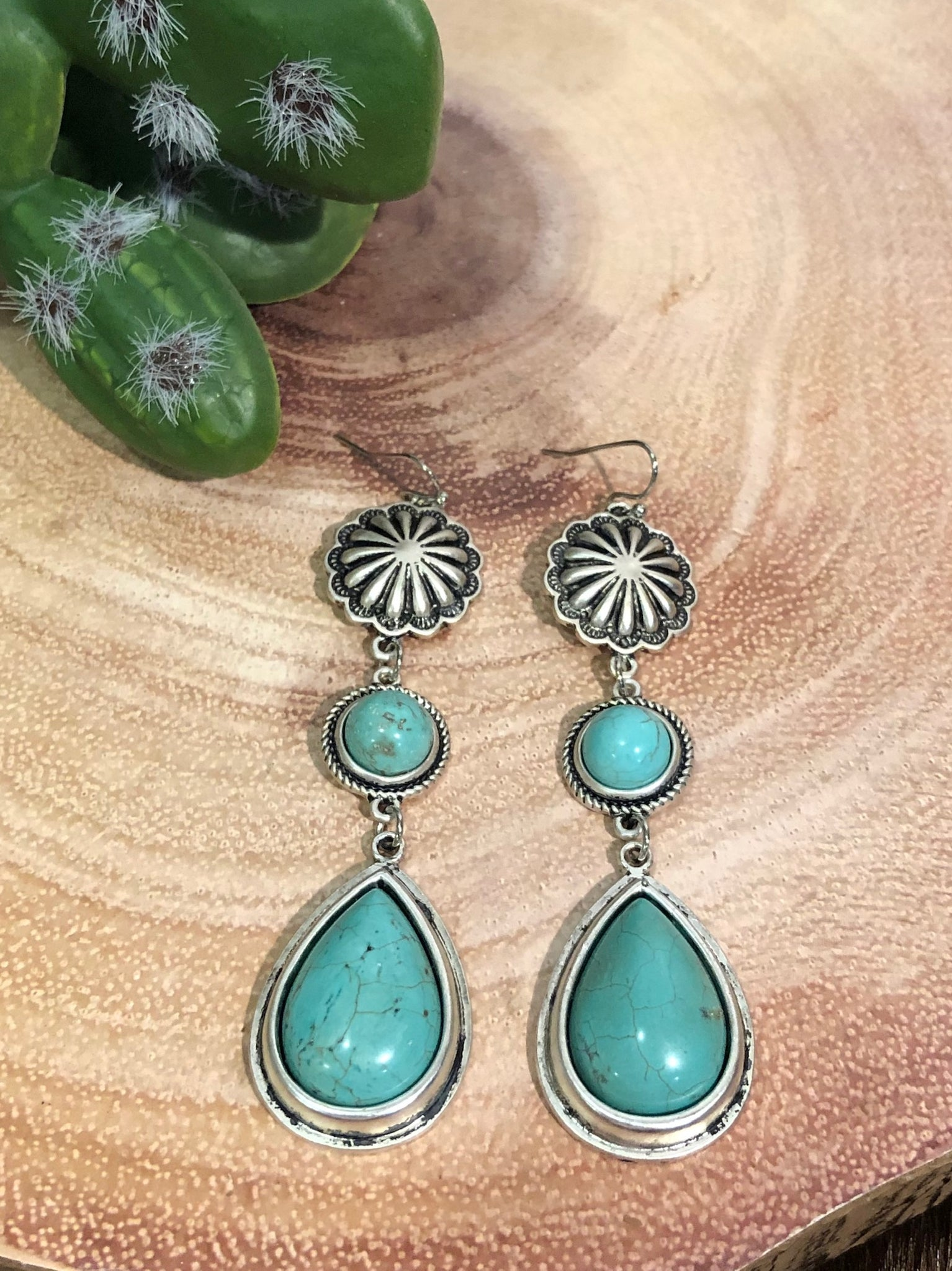 2 Stone Pendant Turquoise Earrings