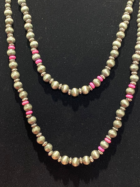 Layered Pearl and Pink Necklace