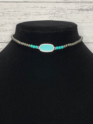 Turquoise and Pearl Choker