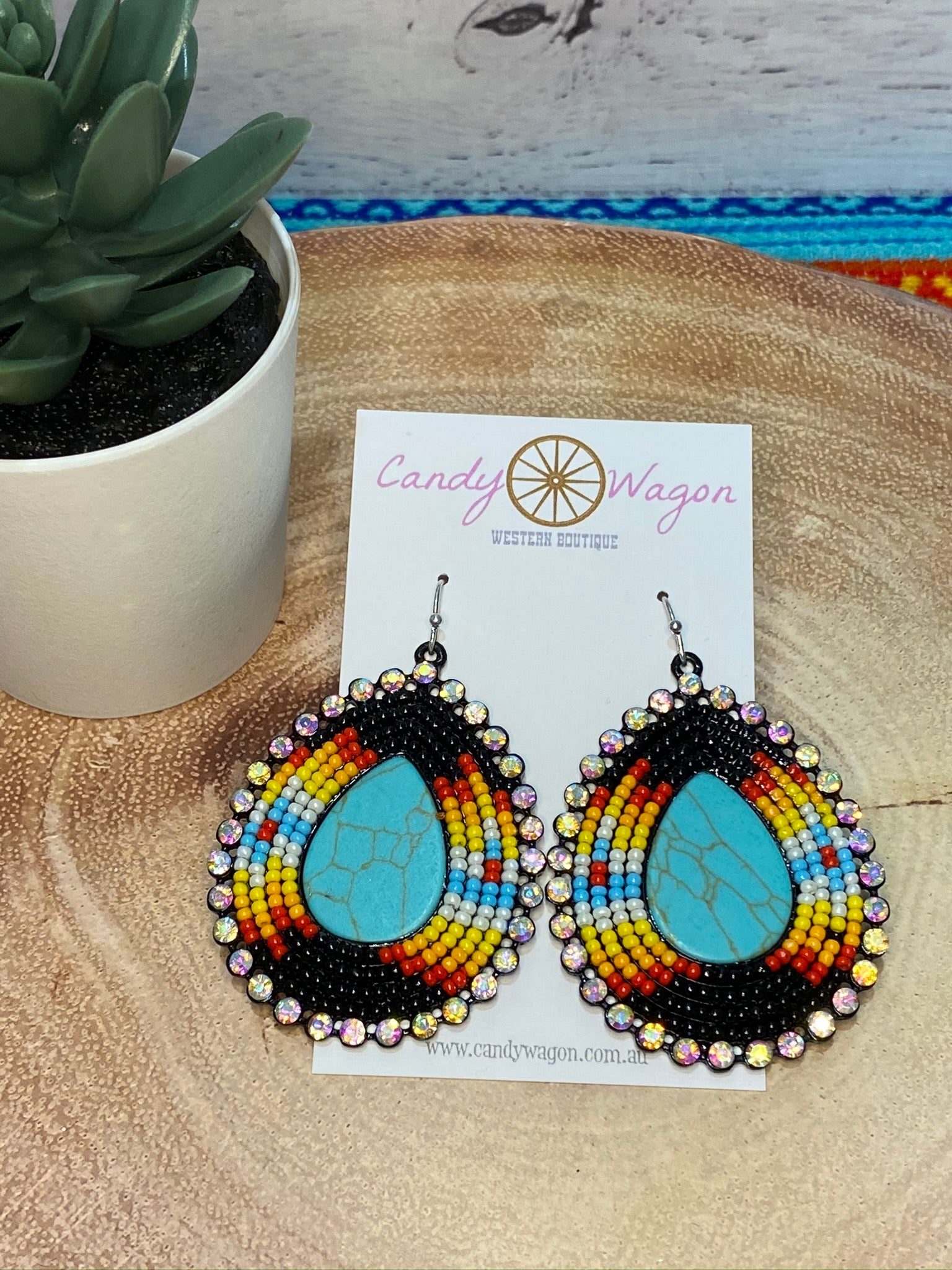 Turquoise Stone and Seed Bead Earrings