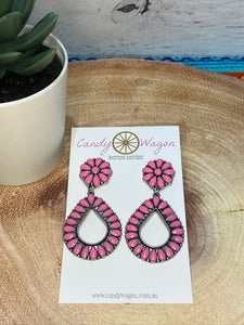 Pink Teardrop Post Earrings