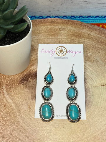 3 Stone Turquoise Drop Earrings