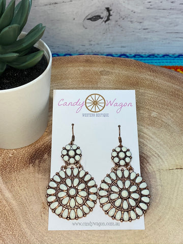Natural Double Concho Earrings