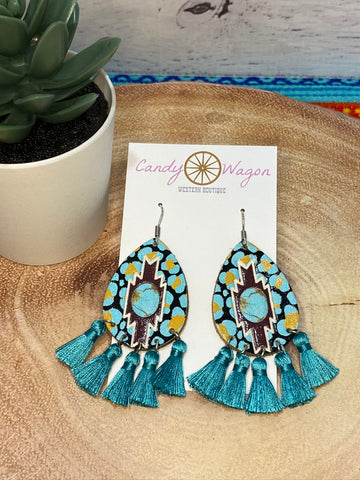 Aztec Leather and Turquoise Tassel Earrings