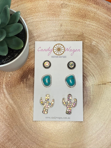 3 Pair Cactus Stone Earrings Set