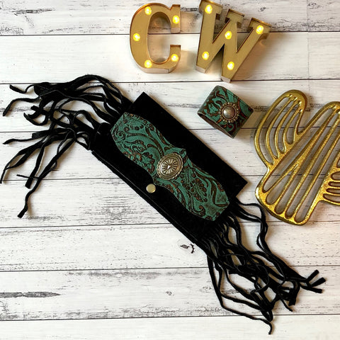 Vintage Green and Black Leather Clutch and Cuff
