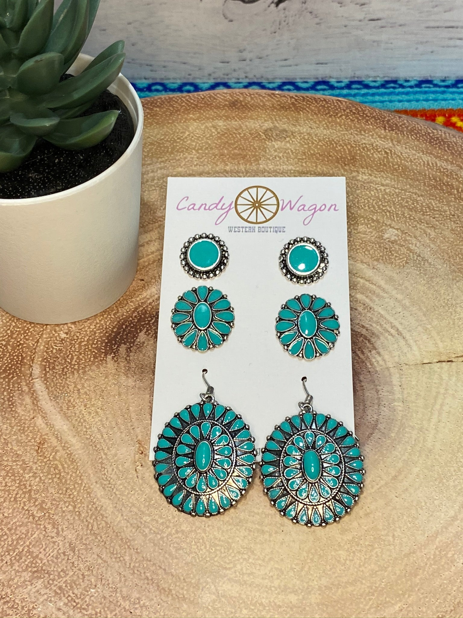 3 Pair Concho Earrings Set - Turquoise
