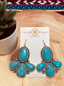 4 Stone Turquoise Earrings
