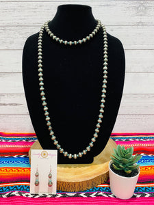 "60"" Navajo Pearl and TurquoiseNecklace Set"