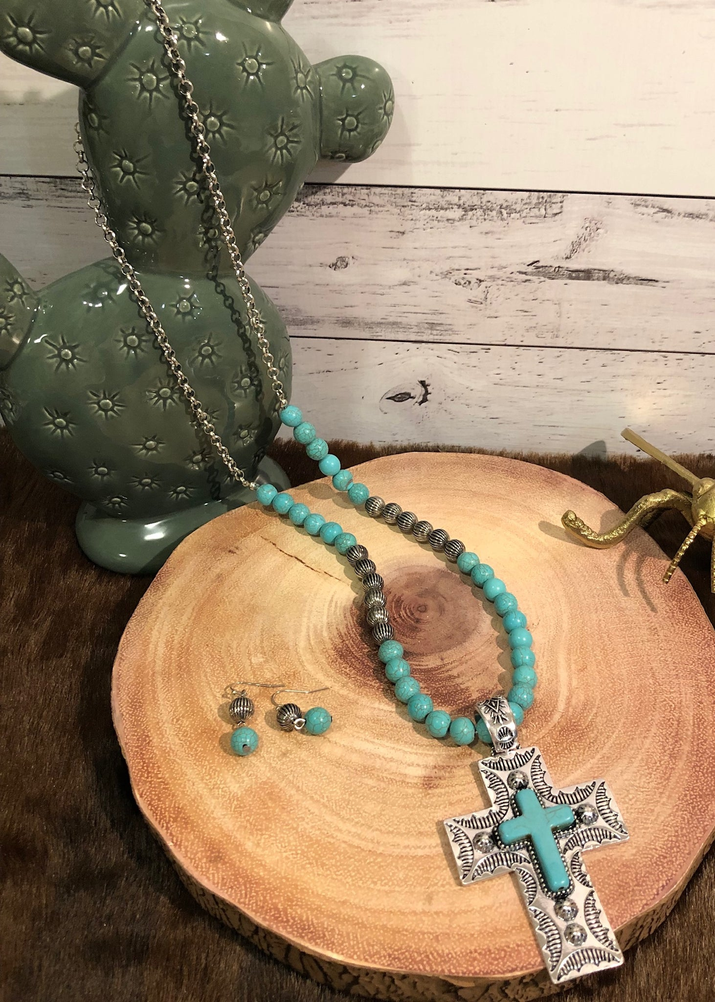 Turquoise and Silver Chunky Cross Necklace Set