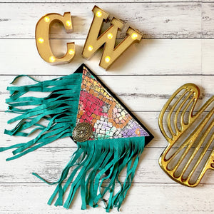 Leather Black and Turquoise Fringe Clutch