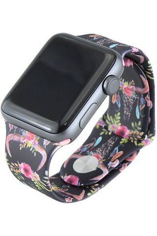 Floral Steer Skull Watchband