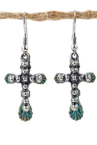 Turquoise and Silver Cross Drop Earrings