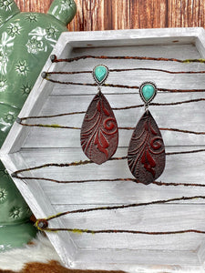 Tooled Leather and Turquoise Earrings