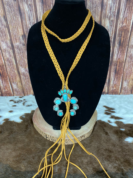 Suede and Turquoise Wrap Necklace