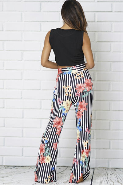 Black and White Strip Floral Bell Bottoms