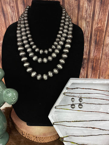 "18"" Large Navajo Pearl Necklace Set"