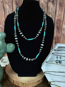 "60"" Navajo Pearl and Turquoise Necklace Set"