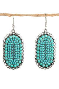 Chunky Turquoise Oval Earrings