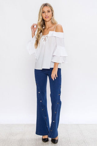 White Lace-Up Off Shoulder Top