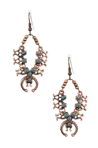 Copper Ornate Link Curved Dangle Earrings