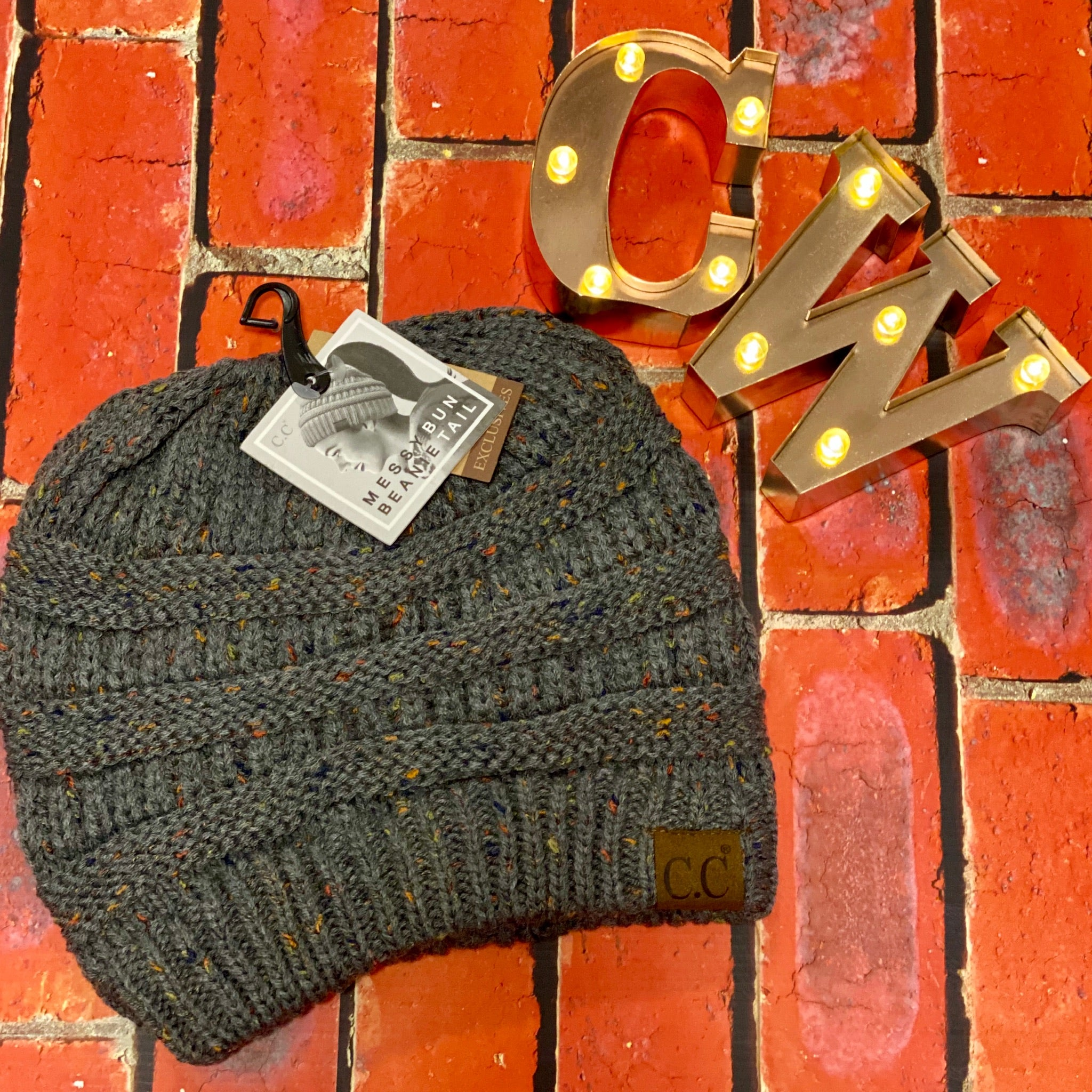 C.C Ponytail Beanie - Dark Grey