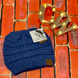 C.C Ponytail Beanie - Denim Blue
