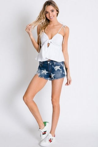 Super Star Distressed Denim Shorts