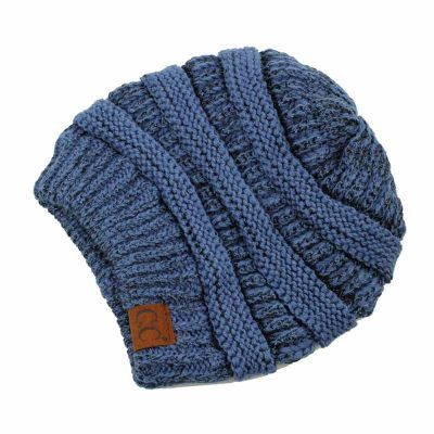 C.C Knitted Metallic Beanie - Dark Denim