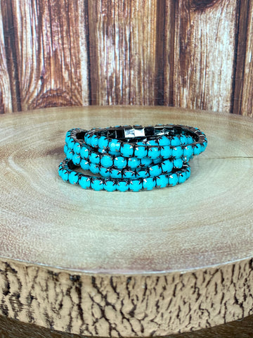 5 Strand Stackable Stretch Bracelet - Turquoise