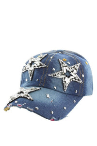 Distressed Denim Star  Cap