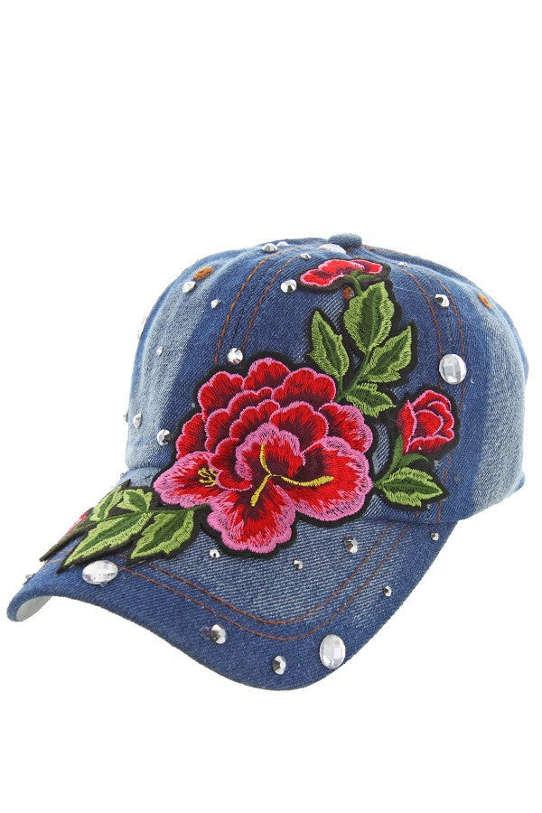 Rose Studded Denim Cap