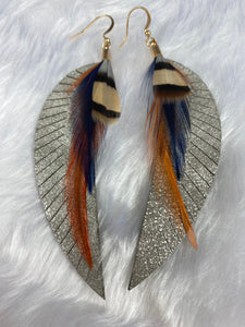 Leather and Feather Hook Earrings
