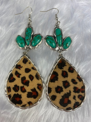 Large Leopard and Turquoise Earrings