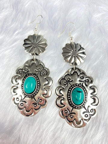Silver and Turquoise Concho Earrings