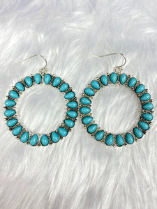 Turquoise Hoop Hook Earrings
