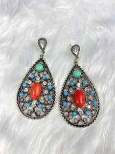 Turquoise and Red Deco Earrings