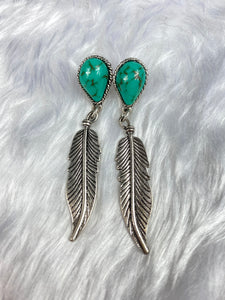 Turquoise and Silver Feather Earrings