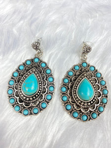 Navajo Style Turquoise Teardrop Earrings