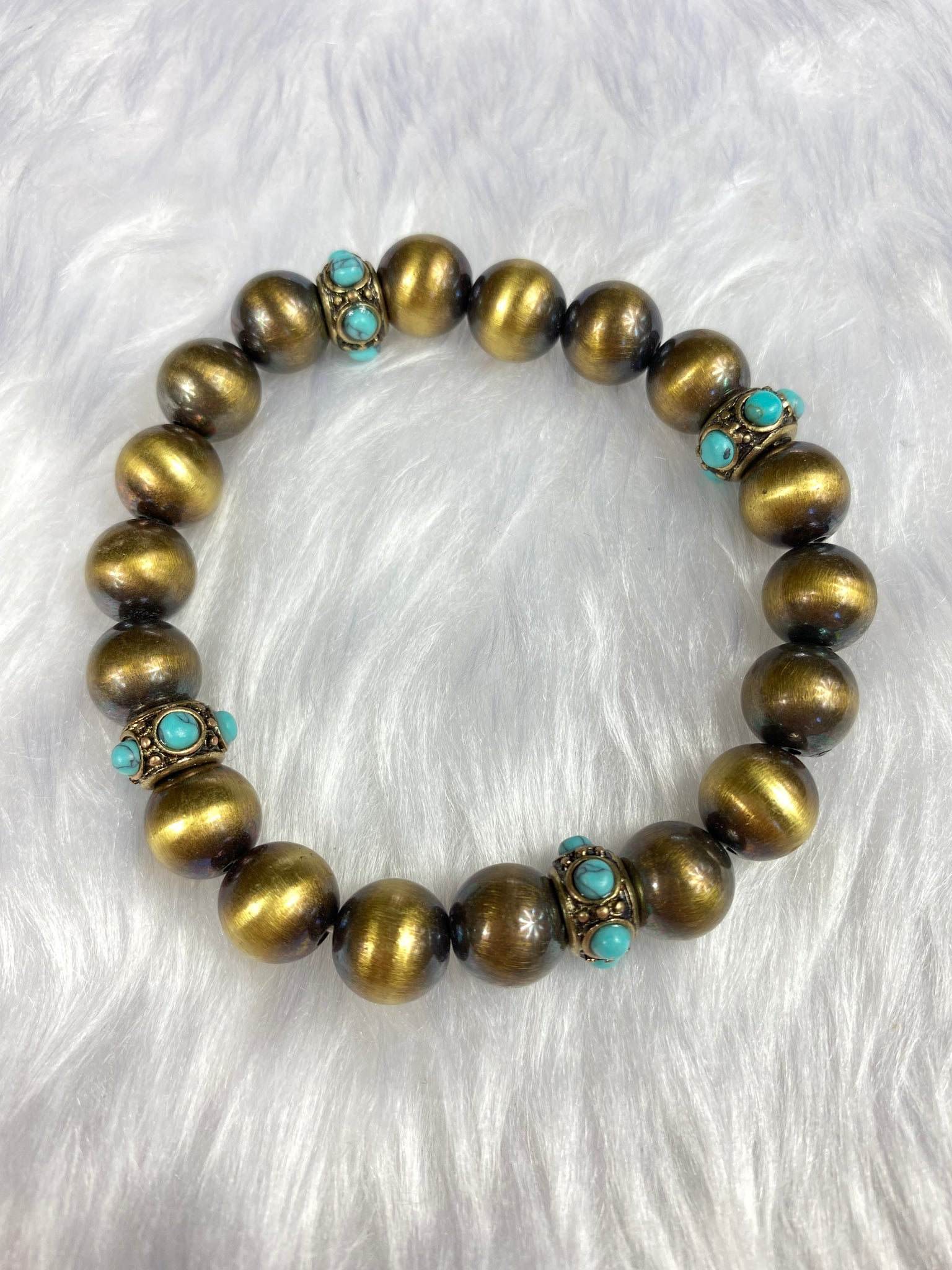 Navajo Pearl and Turquoise Stretch Bracelet