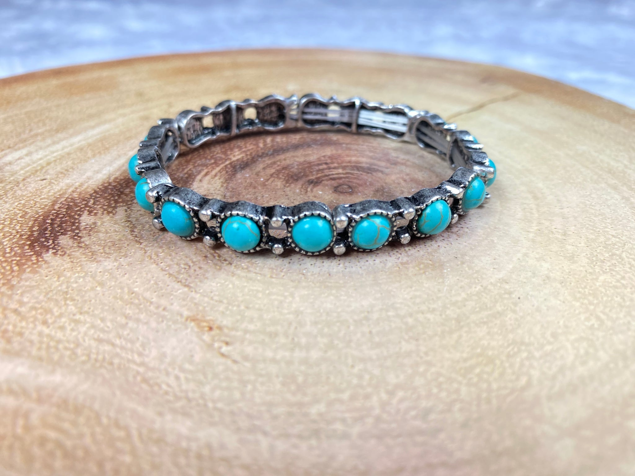 Silver and Turquoise Stacker Stretch Bracelet