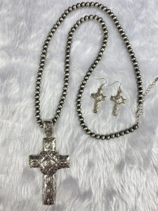 Navajo Pearl and Silver Cross Necklace Set