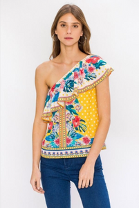 Yellow One Shoulder Printed Top