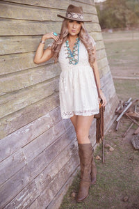 Natural Lace Mini Dress
