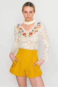Cream Lace Embroided Long Sleeve Top