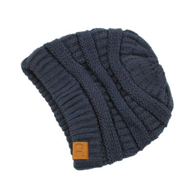 C.C Knitted Slouchy Beanie - Navy