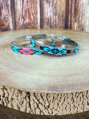 Turquoise & Tan Seed Bead Hoop Earrings
