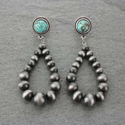 Navajo Pearl and Turquoise Teardrop Earrings