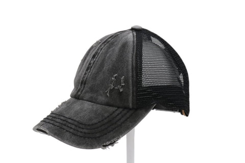 Washed Denim Criss Cross Ponytail Cap - Black